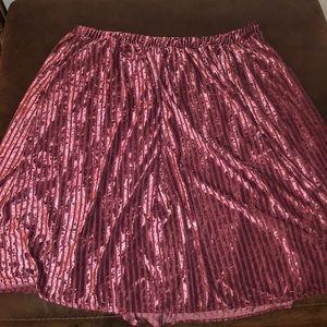 ModCloth Jessy B Pink Ribbed Velvet Skirt Size 3X